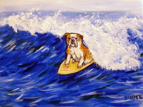 Bulldog Surfing dog prints 8x10  art print impressionism gift new animals