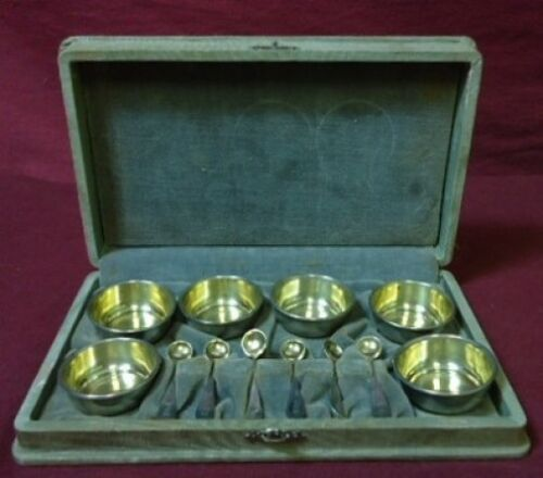 Pattern Unknown by Frank Whiting Sterling Salt Dip & Spoon Set Fitted Box 12Pc