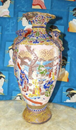 Antique Satsuma Style Hand Painted Highly Decorated Dragon Vase