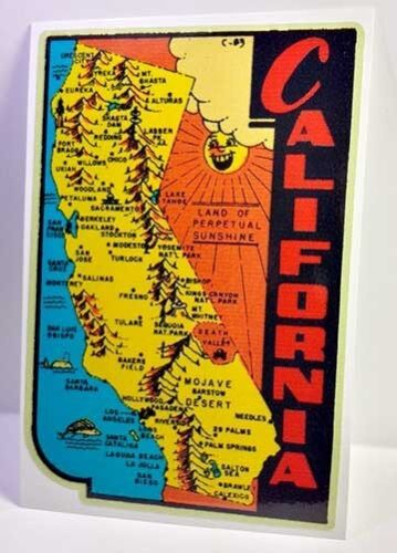 State of California Vintage Style Travel Decal / Vinyl Sticker, Luggage Label