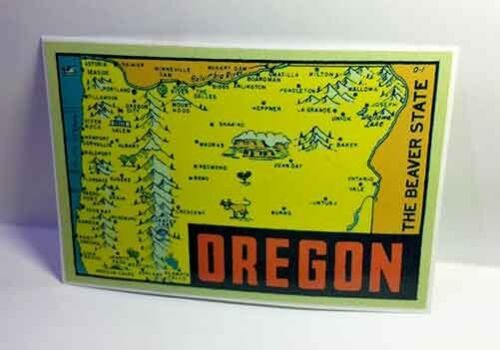 Oregon Vintage Style Travel Decal / Vinyl Sticker, Luggage Label