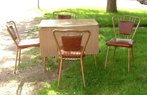1950s Walter of Wabash Kitchen Set Formica Drop Leaf Table & 4 Wire Back Chairs