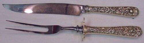 """Repousse by Kirk Sterling Silver Steak Carving Set 2-Piece HHWS 10 3/4"""" Serving"""