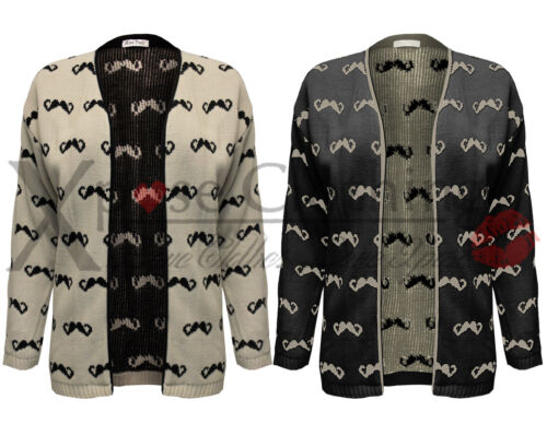 LADIES WOMENS MOUSTACHE KNIT PRINT KNITTED OPEN CARDIGAN TOP LONG SHRUG JUMPER
