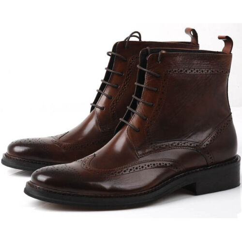 Fulinken Leather Men oxford Brogue Wingtip lace up Boots Leather military Shoes