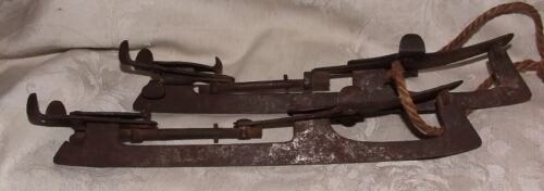 Antique 1888 Primitive Metal Clamp-On Ice Skates Size 11 Adjustable