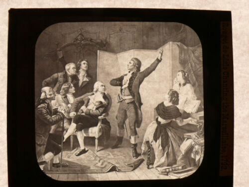 ca.1890 Magic Lantern Glass Slide ROUGET deLISLE CHANTING MARSEILLAISE in 1792