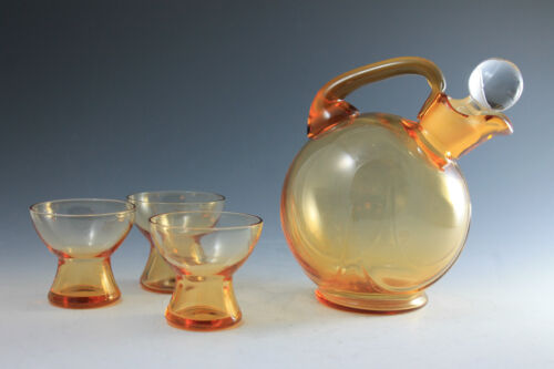 Cambridge Glass Topaz Yellow Liquor Decanter / Pitcher and 3 cups