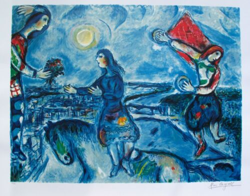 """MARC CHAGALL """"LOVERS OVER PARIS"""" Limited Edition Facsimile Signed Lithograph Art"""