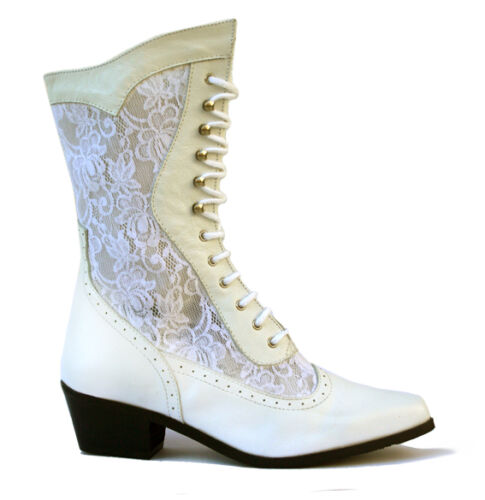 NEW Ladies Western Cowboy Cowgirl Boots White Leather   (Style Cathedral)