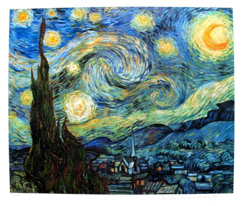 VINCENT VAN GOGH Estate Signed Limited Edition Art Giclee STARRY NIGHT