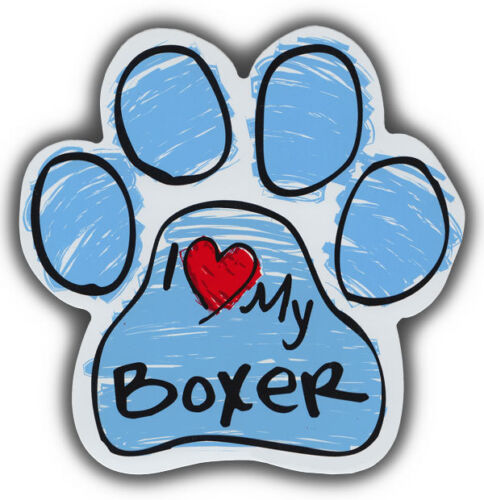 Scribble Paw Dog Magnets: I LOVE MY BOXER | Cars, Trucks, Refrigerators