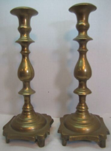 Antique 17th/18th C  Brass Candlesticks wonderfully designed ornate heavy old
