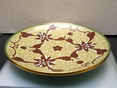 Antique vintage handcrafted Chinese Cloisonne dish plate 7 inches / diameter