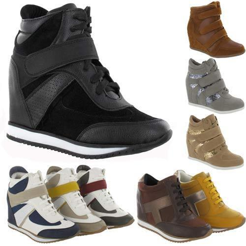 LADIES WEDGE TRAINERS GIRLS HIGH ANKLE HI TOPS CELEBRITY STYLE SHOES BOOTS SIZE