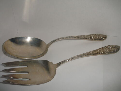 ANTIQUE FRANK WHITING REPOUSSE SERVING SET STERLING SILVER LARGE FORK SPOON FWS1