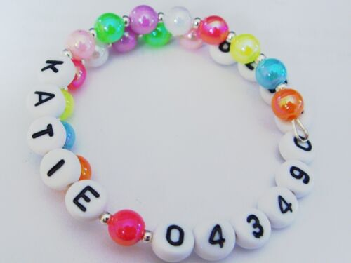 wrap around name & phone number id bracelet for child or adult.