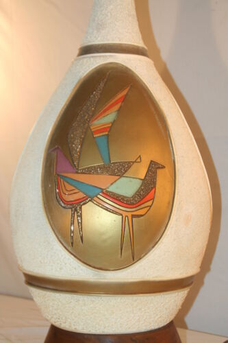 Vintage 1960 Mid Century Modern Incised Abstract Cubist Birds Lamp