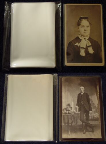 100 CDV+100 CABINET CARD Photo SLEEVE Pack/Lot ARCHIVAL SAFE Quality 1.5mil Poly