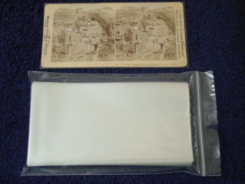 100 STEREOVIEW/Stereoscopic Photo SLEEVES Pack/Lot ~ 1.5 Mil Poly ARCHIVAL SAFE
