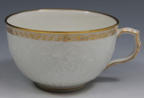 KPM Porcelain Embossed Flowers Gold Trim Marked Cup - Excellent