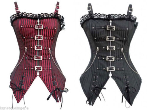 Red or Black Striped Gothic Steampunk Longline Overbust Corset Top Buckle Chain