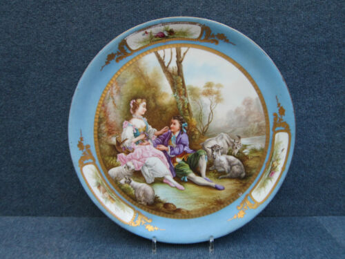 SEVRES STYLE TURKISH BLUE CHARGER WITH WATTEAU SCENE SIGNED QUENON 1850-1890