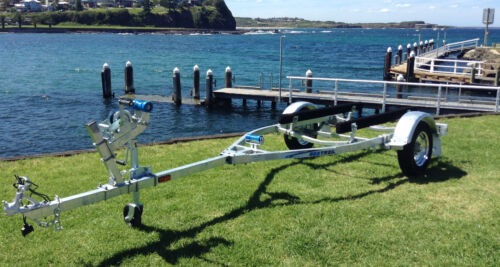 PWC12 Inflatable Boat Trailer, Jetski Trailer Boats up to 3.9m, Galvanised <br/> Galvanized Boat trailer