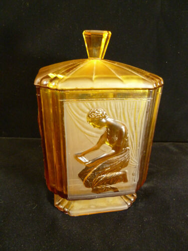 ART DECO AMBER GLASS LIDDED JAR OR CANDY DISH WITH CLASSICAL WOMAN – CIRCA 1930