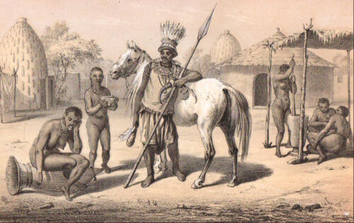 1860 vintage AFRICAN MUSGU CHIEF HORSE & TRIBE original hand painted Lithograph