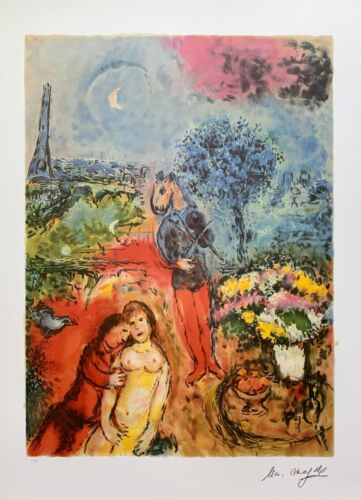 """Marc Chagall EIFFEL TOWER SERENADE Signed Limited Edition Lithograph Art 35""""x24"""""""