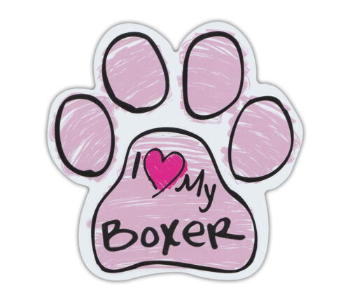 Pink Scribble Paws: I LOVE MY BOXER | Dog Paw Shaped Car Magnets