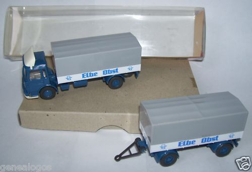 WIKING HO 1/87 CAMION MAN BLEU ELBE OBST + TRAILER REMORQUE in box 1