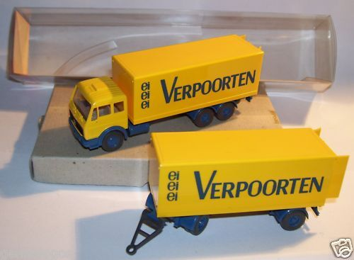 e WIKING HO 1/87 CAMION MB MERCEDES 1632 TRAILER REMORQUE VERPOORTEN IN BOX