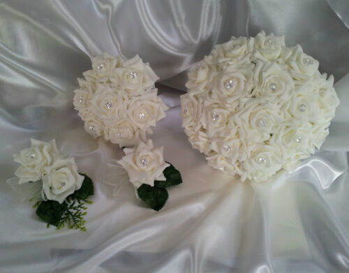 Ivory Wedding Flowers Rose Butterfly Bouquet Bride Bridesmaid Corsage Buttonhole
