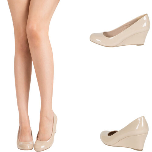 NUDE PATENT LEATHER ROUND CLOSED TOE MED LOW WEDGE HEEL WOMENS PUMP SANDAL SHOES