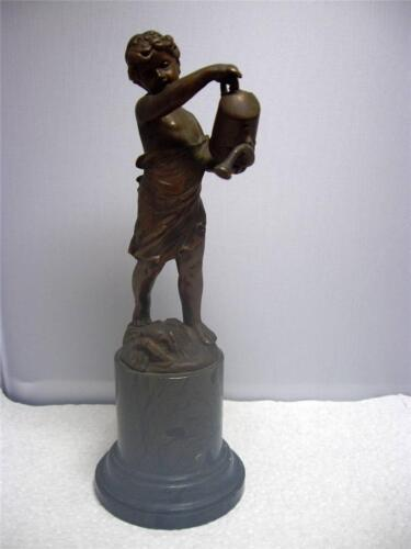 Antique Art Nouveau Bronze & Marble Statue of Child W/ Watering Can *J