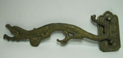 Antique Chinese Dragon Wall Mount Swivel Hook Hanger Bracket pot lamp brass brnz