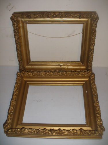 "Pair nice antique vintage wood frames 12 1/2""x 10 1/2"" for 9 1/4 ""x 7 "" painting"