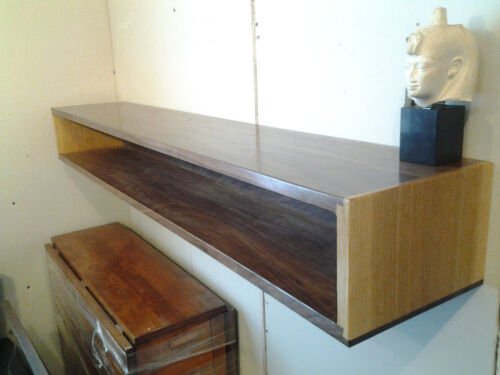 Custom Walnut and QS Oak Floating Entry Table Console Shelf Modern Mid Century