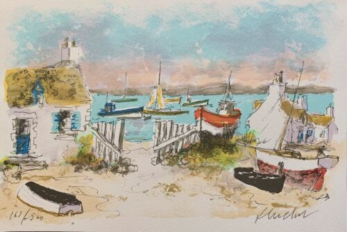 Urbain Huchet COTTAGES IN CHAUSEY Hand Signed Limited Edition Lithograph Art