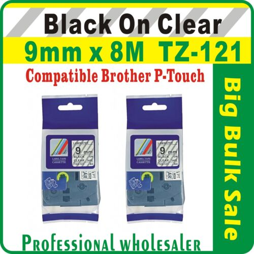 9mm x 8m Brother Black on Clear Compatible TZ-121 P-Touch Laminated Label Tape
