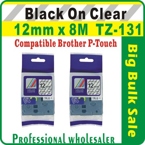 12mm x 8m Brother Black on Clear Compatible TZ-131 P-Touch Laminated Label Tape