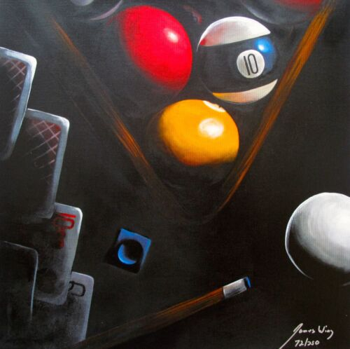 """JAMES WING Hand Signed Giclee on Canvas """"BLACK POKER"""" BILLIARDS POOL TABLE BALLS"""