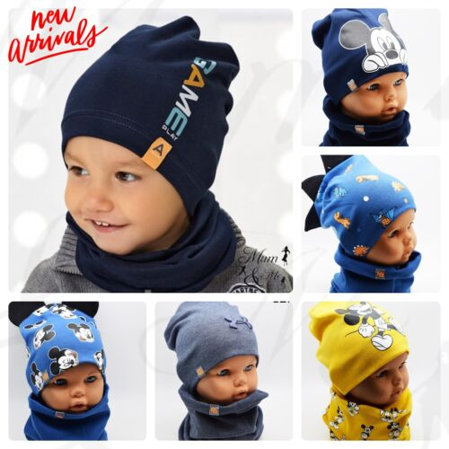 Boys Junior Toddler Hat With Scarf Cotton Autumn Spring Set Hat and Scarf Cap