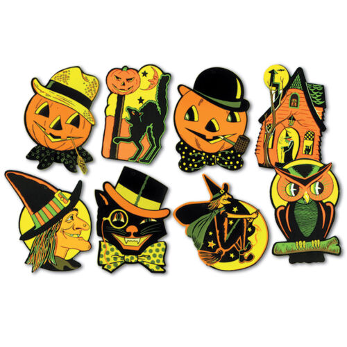 8 Vintage RETRO Styled BEISTLE Repro HALLOWEEN DECORATIONS Die-cut Cutouts