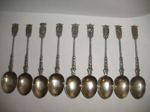 Antique Set of 9 Continental sterling silver demitasse spoons crests handles HH