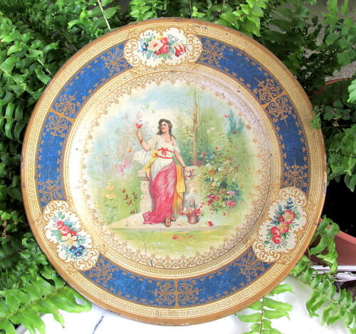 EARLY 1900'S TIN LITHO VIENNA ART PLATE WOMAN WITH BUTTERFLY