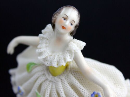 Porcelain Dresden Lace Volkstedt Small Lady Figurine