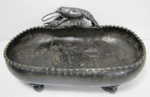 Antique 19c Figural Lobster and Cherry Tree Serving Dish Bowl Wilcox Silver
